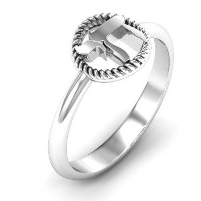 18CT White Gold Chai with Braided Halo Ring