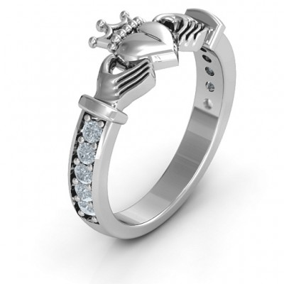 18CT White Gold Classic Claddagh Ring with Accents