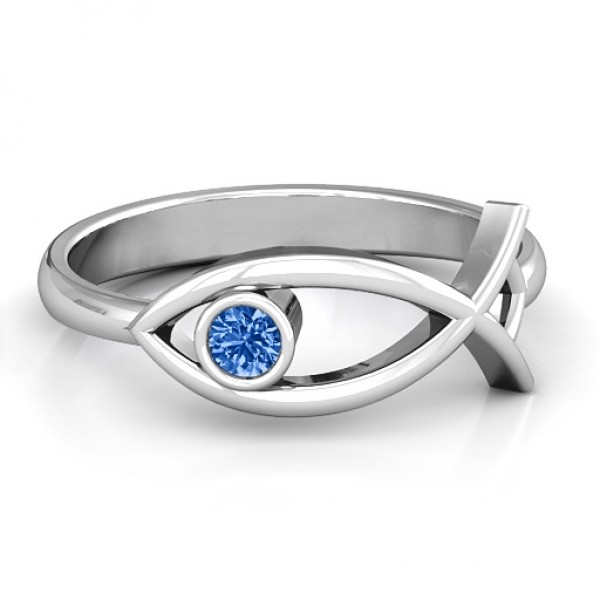 18CT White Gold Classic Fish Ring