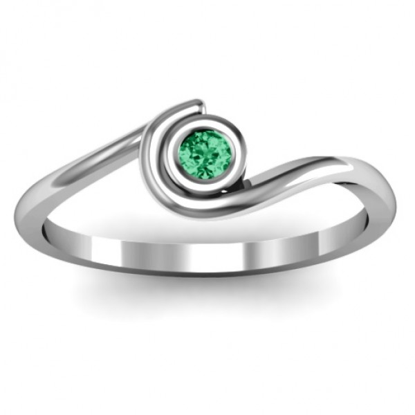 18CT White Gold Curved Bezel Ring