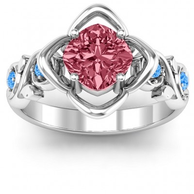18CT White Gold Cushion on Flowers Ring
