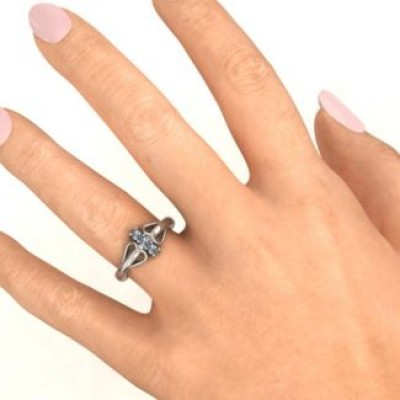 18CT White Gold Double Heart Three Stone Ring