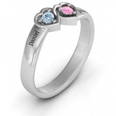 18CT White Gold Double Interlocked Hearts Ring