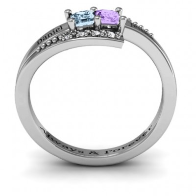 18CT White Gold Double Princess Bypass with Accents Ring