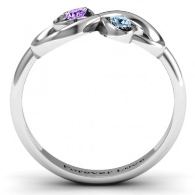 18CT White Gold Duo of Hearts and Stones Infinity Ring