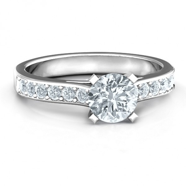 18CT White Gold Elegant Duchess Ring with Shoulder Accents