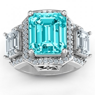 18CT White Gold Emerald Cut Trinity Ring with Triple Halo