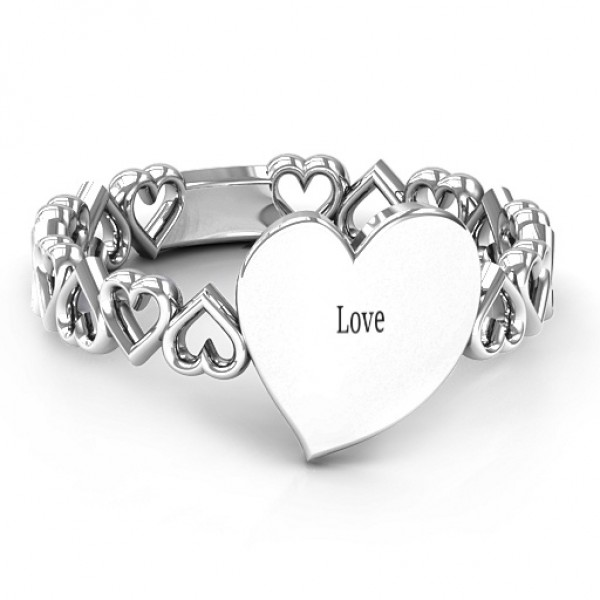 18CT White Gold Engravable Cut Out Hearts Ring
