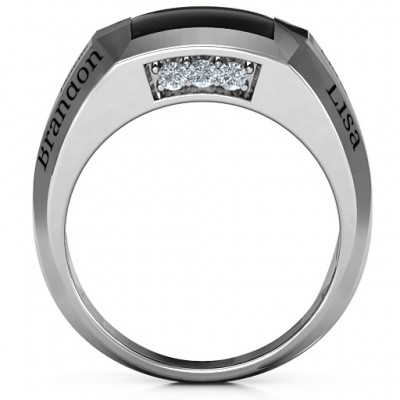 18CT White Gold Engravable Statement 6-Stone Men's Ring