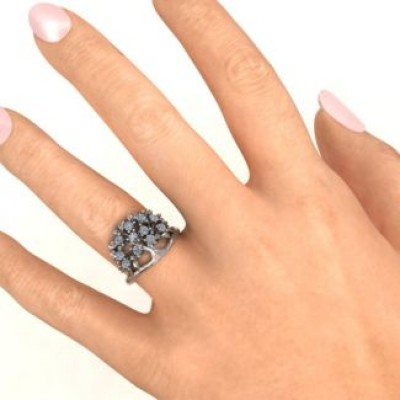 18CT White Gold Family Tree Ring