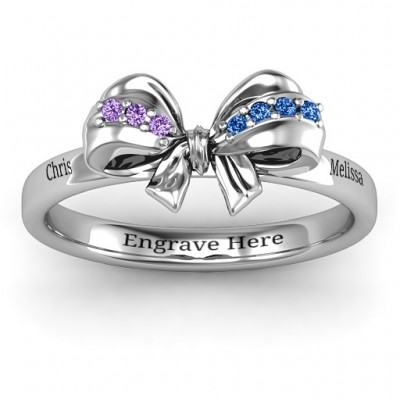18CT White Gold Fancy Stone Set Bow Ring