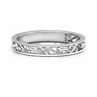 18CT White Gold Filigree Band Ring