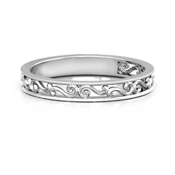 18CT White Gold Filigree Band Ring