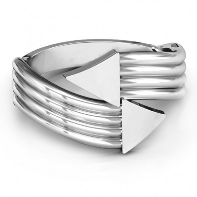 18CT White Gold Geometric Arrows and Triangles Bypass Ring