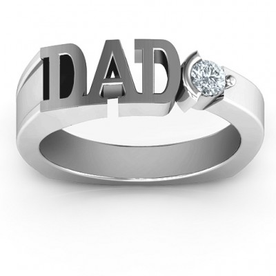 18CT White Gold Greatest Dad Birthstone Men's Ring with Peridot (Simulated) Stone