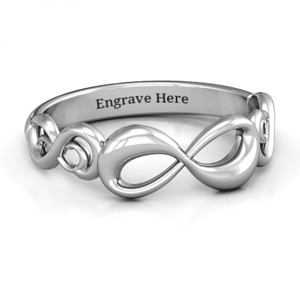 18CT White Gold Groovy Infinity Ring