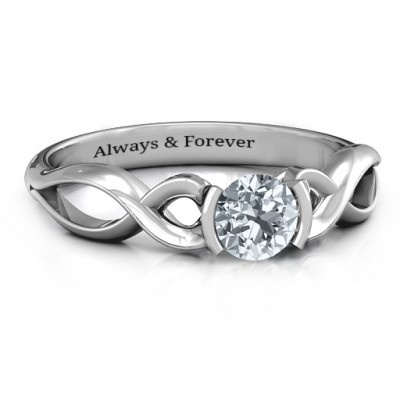 18CT White Gold Half Bezel Infinity Ring