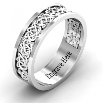 18CT White Gold Half Eternity Celtic Ring