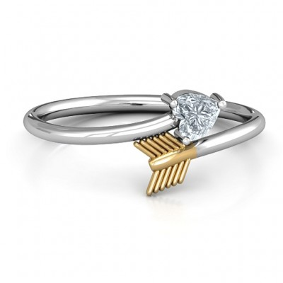 18CT White Gold Heart & Arrow Ring