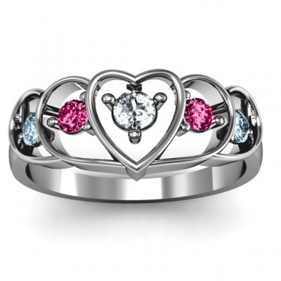 18CT White Gold Heart Collage Ring