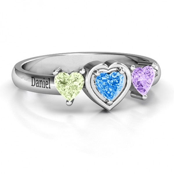 18CT White Gold Heart Stone with Twin Heart Accents Ring