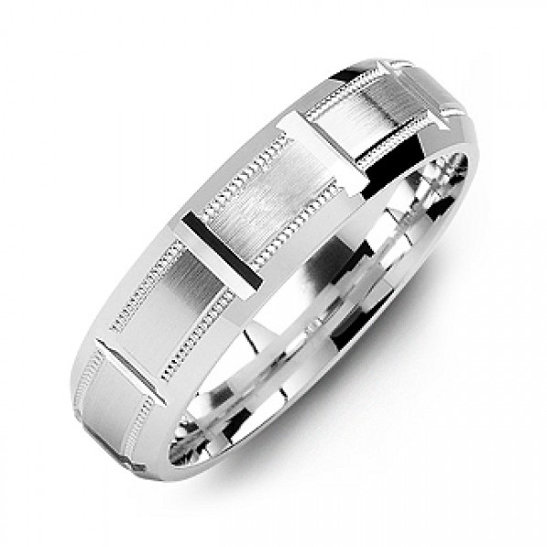18CT White Gold Horizontal-Cut Men's Ring with Beveled Edge