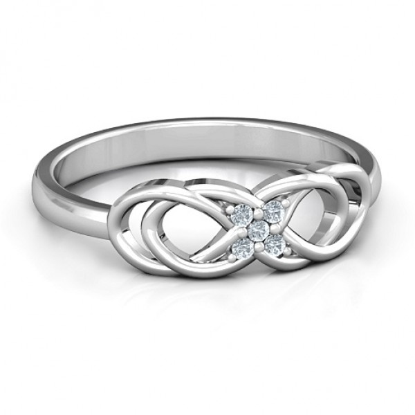 18CT White Gold Infinity Knot Ring with Accents
