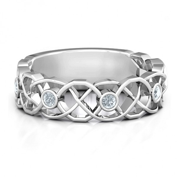 18CT White Gold Intertwined Love Band Ring
