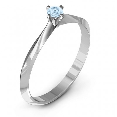 18CT White Gold Knife Edge Solitaire Ring