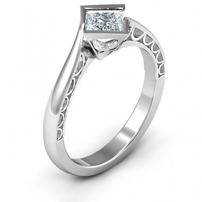 18CT White Gold Krista Princess Cut Ring