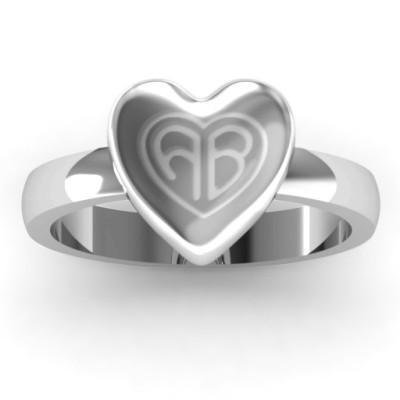 18CT White Gold Large Engraved Monogram Heart Ring