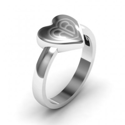 18CT White Gold Large Engraved Monogram Heart Ring