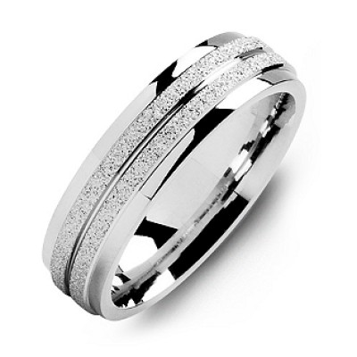 18CT White Gold Laser-Finish Men's Ring with Polished Edges