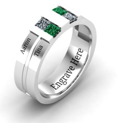 18CT White Gold Leonidas Grooved Men's Ring