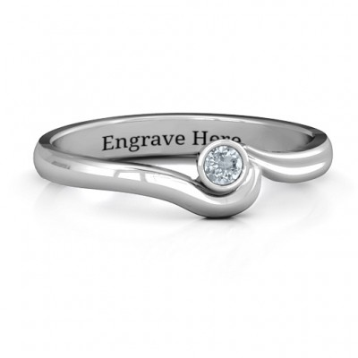 18CT White Gold Low Wave Ring