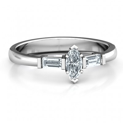 18CT White Gold Marquise Cut Love Ring