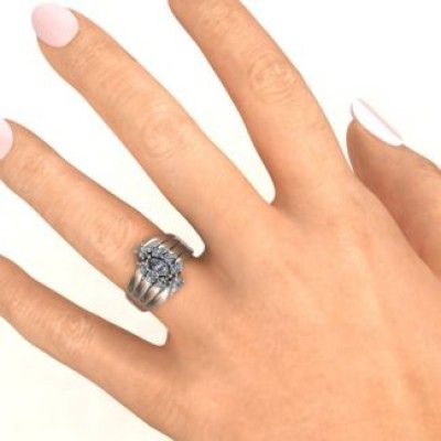 18CT White Gold Medusa Multi-Wave Ring