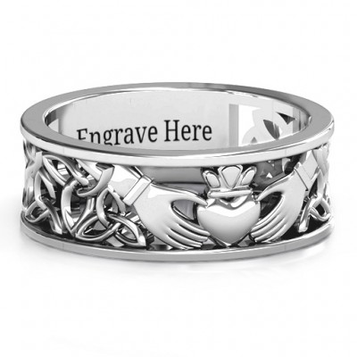 18CT White Gold Men's Celtic Claddagh Band Ring