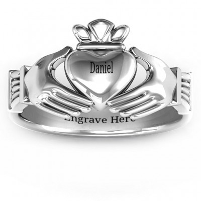 18CT White Gold Men's Classic Celtic Claddagh Ring