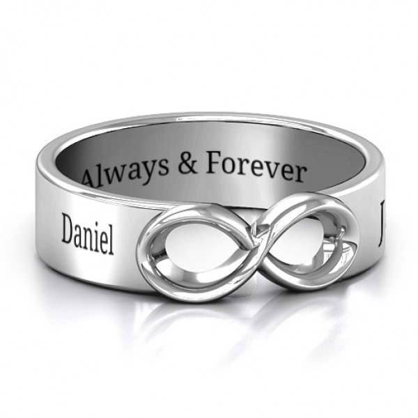 18CT  White Gold Men's Expression of Infinity Band