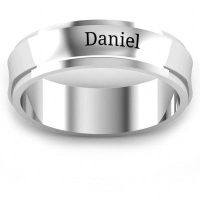 18CT White Gold Menelaus Bevelled Concave Men's Ring