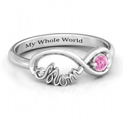 18CT White Gold Mom's Infinity Bond Ring