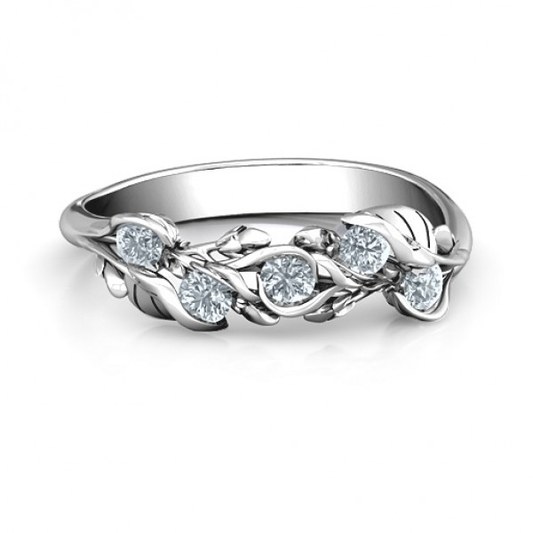 18CT White Gold Organic Leaf Five Stone Family Ring