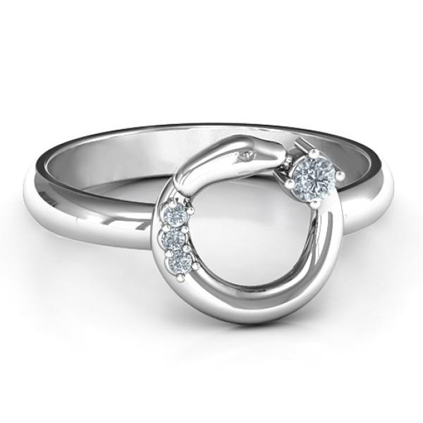 18CT White Gold Ouroboros Snake Ring