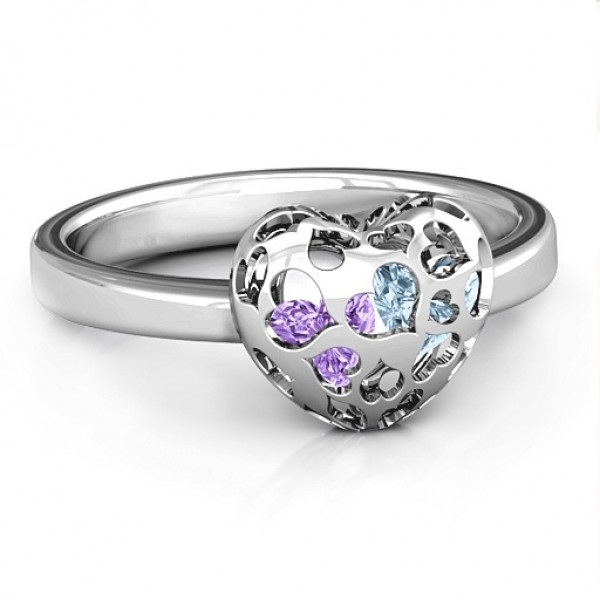 18CT White Gold Petite Caged Hearts Ring with 1-3 Stones
