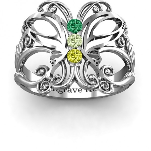 18CT White Gold Precious Butterfly Ring