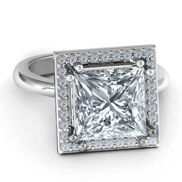 18CT White Gold Princess Cut Cocktail Ring with Halo