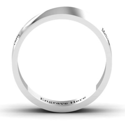 18CT White Gold Ridge Diagonal Peak Men's Ring
