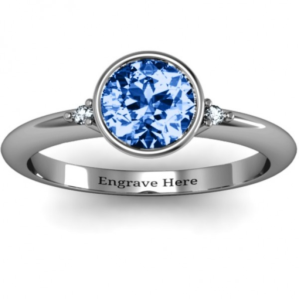 18CT White Gold Round Bezel Solitaire with Twin Accents Ring
