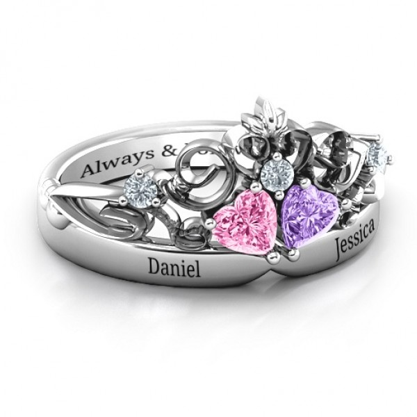 18CT White Gold Royal Romance Double Heart Tiara Ring with Engravings